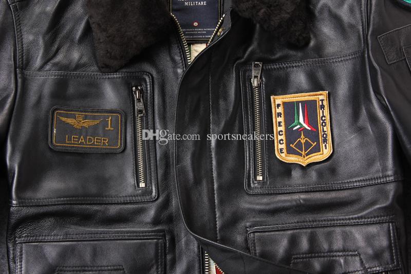 Neues Ankunfts-Abzeichen der USA-Luftwaffe-Fluganzug Echte Schaffell-Lederjacke mit Lammfellkragen