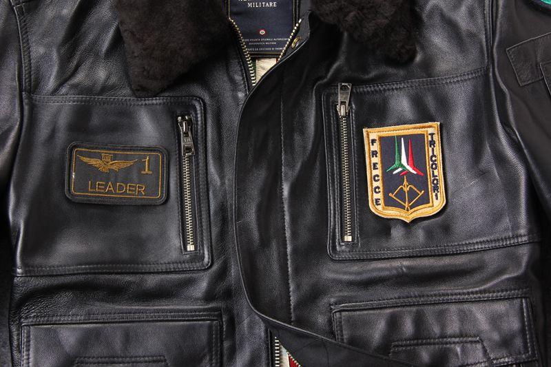 Nouveau badge d'arrivée la combinaison de vol de l'aviation USA veste en cuir en peau de mouton véritable avec col de fourrure d'agneau