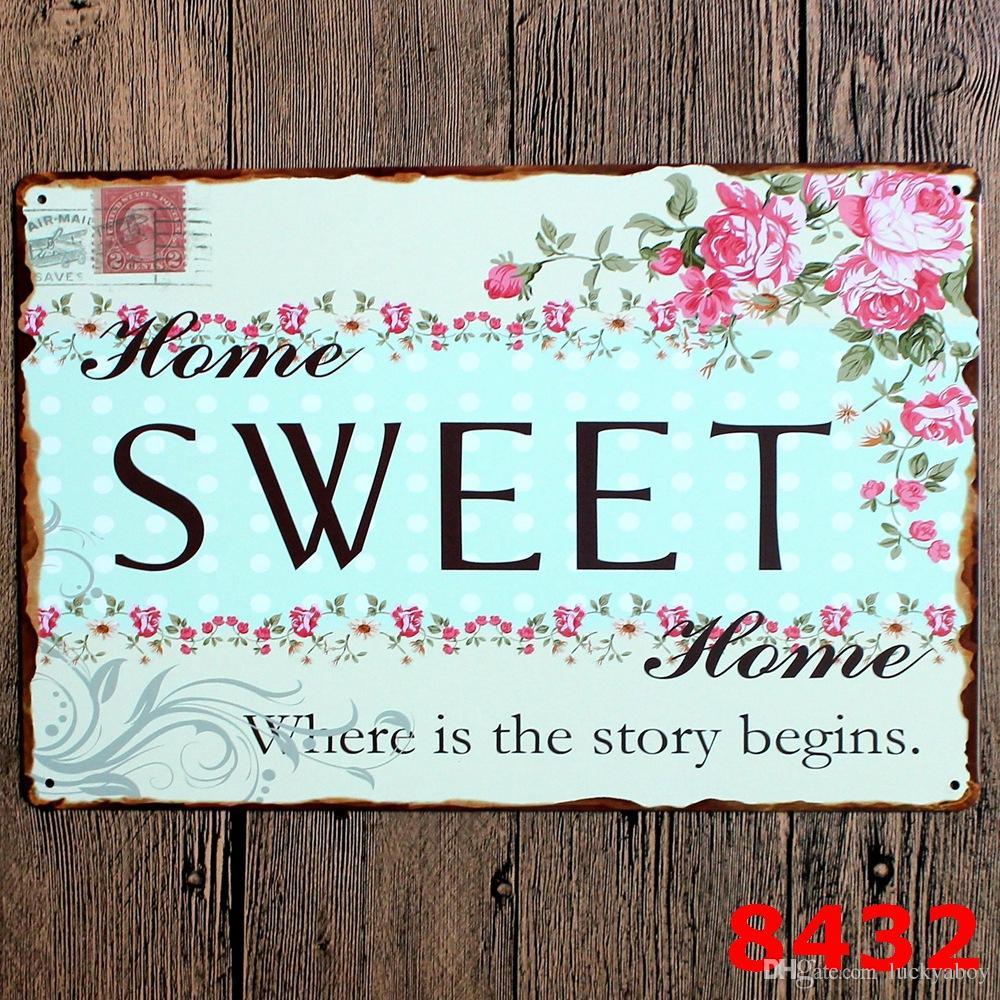 la familia de amor retro bienvenida dulce hogar Poesía de la vendimia del arte de chapa por metal Pintura antiguo cartel de hierro Bar Pub signos pared diseños mixtos