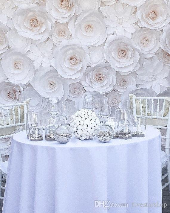Giant Paper Flowers Wedding: Set Giant Paper Flowers For Wedding Backdrop Decorations