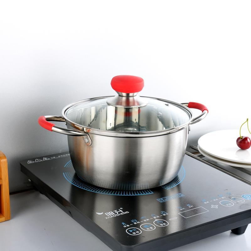 Stainless Steel one Layer Cooking Pot Stockpot Gas Induction Cooker Soup Pots