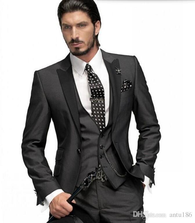 Yüksek kaliteli erkek takım elbise moda Damat Smokin Kömür Gri Tepe Siyah Yaka Groomsmen Erkekler Düğün Takımları ceket + yelek + pantolon