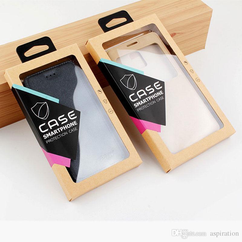 Kraft Brown Kleinverpackungs Kasten Universalhandy Kasten Paket Papier Für Apple Iphone Samsung Mit Pvc Blasen Behälter Aufhänger Aufkleber