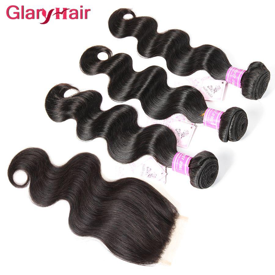 En Çok Satan Glary Saç Ürünleri Brezilyalı Saç Uzantıları Remy İnsan Saç Kapatma ile Kapatma Üst Dantel Kapatma 4x4 Toptan Sadece sizin için