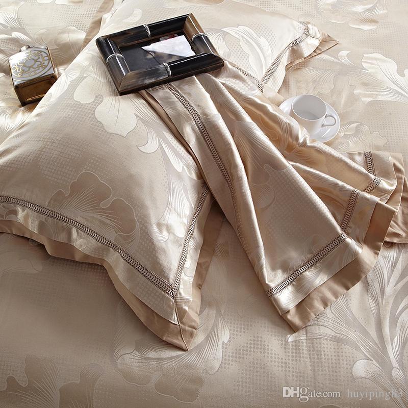 Home Textile ouro jacquard de cetim conjunto de cama rainha do rei 4 / capa de edredão de luxo lençóis Tribute Silk Bed fronhas de linho