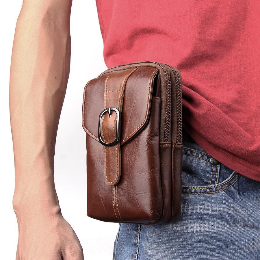 6.3 inch Universal Leather Zipper Phone Bag Mens Waist Belt Bag Travel Fanny Pack Belt Loops Hip Bum Pocket Bag for iphone 8 7plus note 8