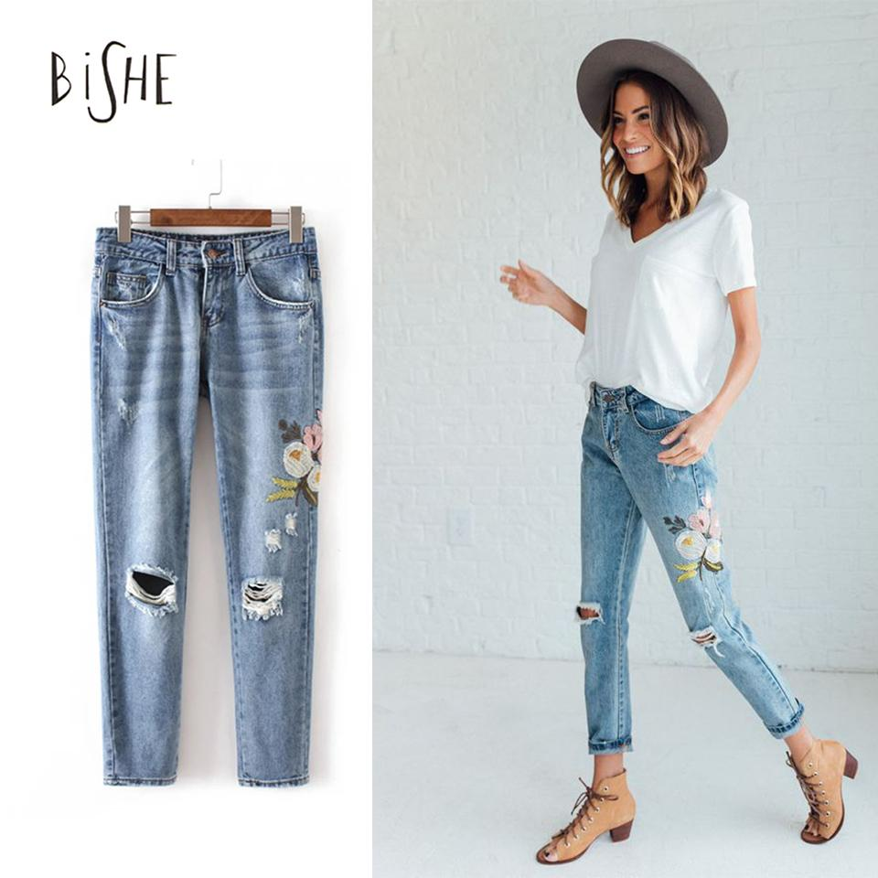 2019 Wholesale Flowers Embroidered Jeans Women 2017 Fashion Casual Pants Denim Jeans For Woman ...