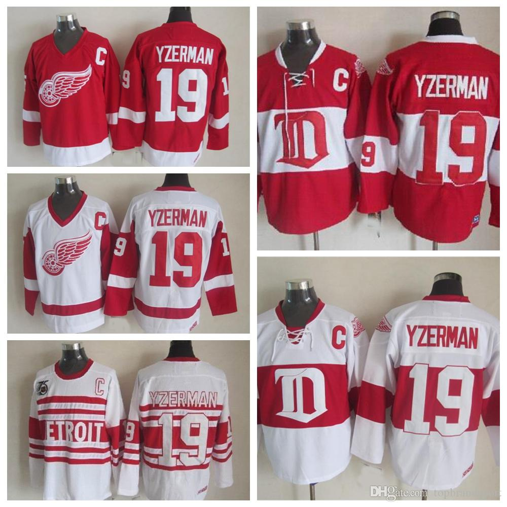 ... Men Red Wings Ice Hockey Jerseys Cheap 19 Steve Yzerman Authentic  Throwback Vintage CCM Stitched Jerseys . ... ed23e39d6