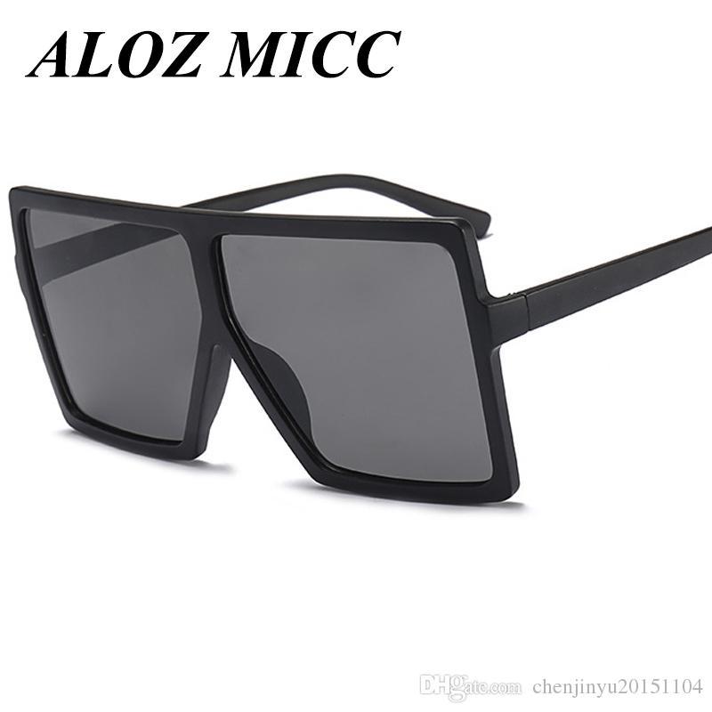 Compre ALOZ MICC Designer Óculos De Sol Para Homens Moda Oversize Quadrado  Feminino Óculos De Sol 2017 Mulheres Plana Top Retro Eyewear UV400 A328 De  ... 05b4c51d22