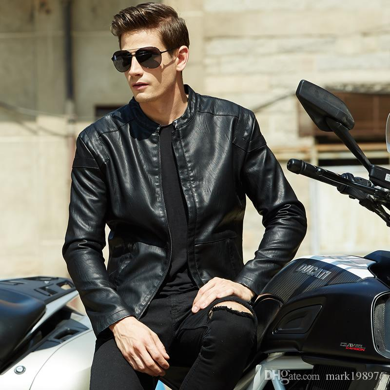 887d8a6b7159e 2019 New Autumn Winter Style Leather Jacket Coats Men High Quality Mens PU Leather  Jacket Luxury Brand 2017 Fashion Male Motorcycle Jackets MC005 From ...
