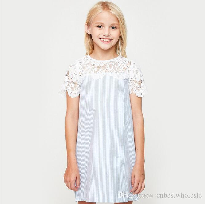 2017 Big Girls Lace Striped Dresses Teenager Princess Dress Junior Summer Clothes Kids Clothing Baby Girl Babies Wholesale