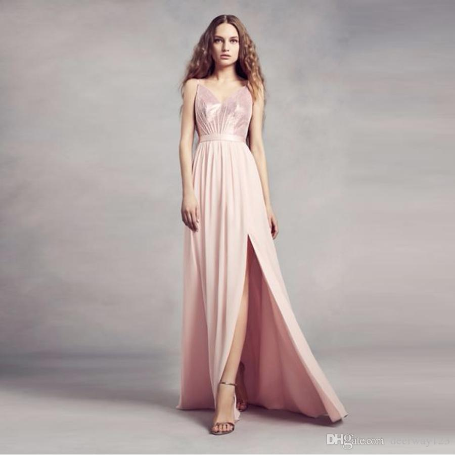 c7011973d7 Sequin Bodice Front Slit Pink Bridesmaid Dress With Chiffon Skirt VW360345S  Wedding Party Dress Evening Dress Formal Dresses Light Green Bridesmaid  Dresses ...