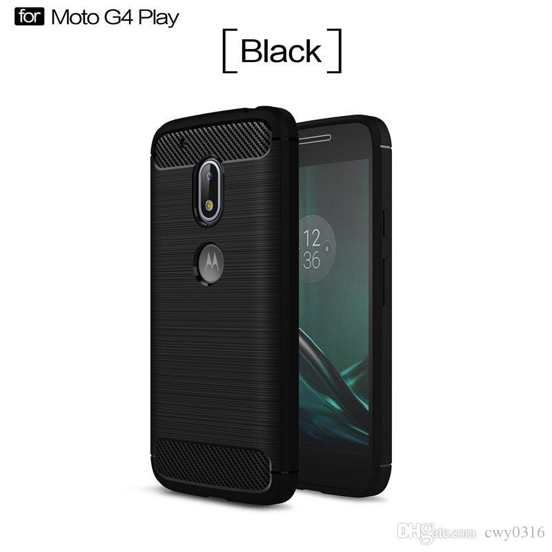 d8c0f95997a ... Funda para Motorola Moto G4 Play Bolsa de teléfono móvil Fibra de  carbono Cepillado TPU Fundas ...