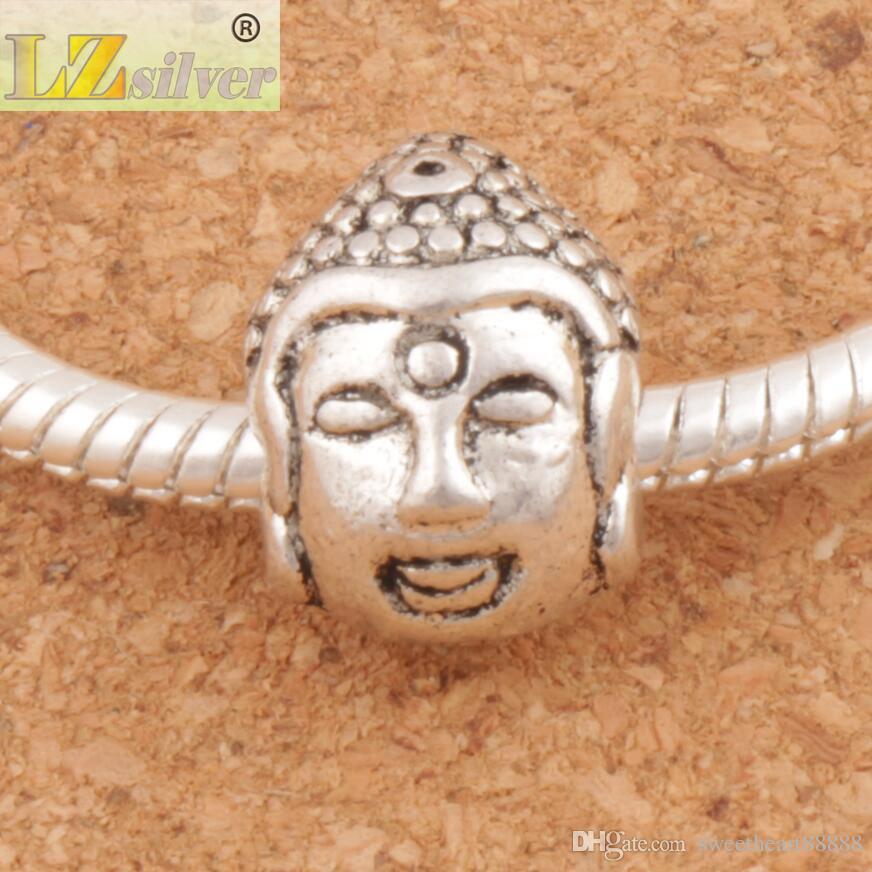 Buddha Kopf 4,5 mm Religiöse Großes Loch Perlen 45 teile / los 10x14mm Tibetischen Silber L1326 Charms Fit Europäischen Legierung Armband