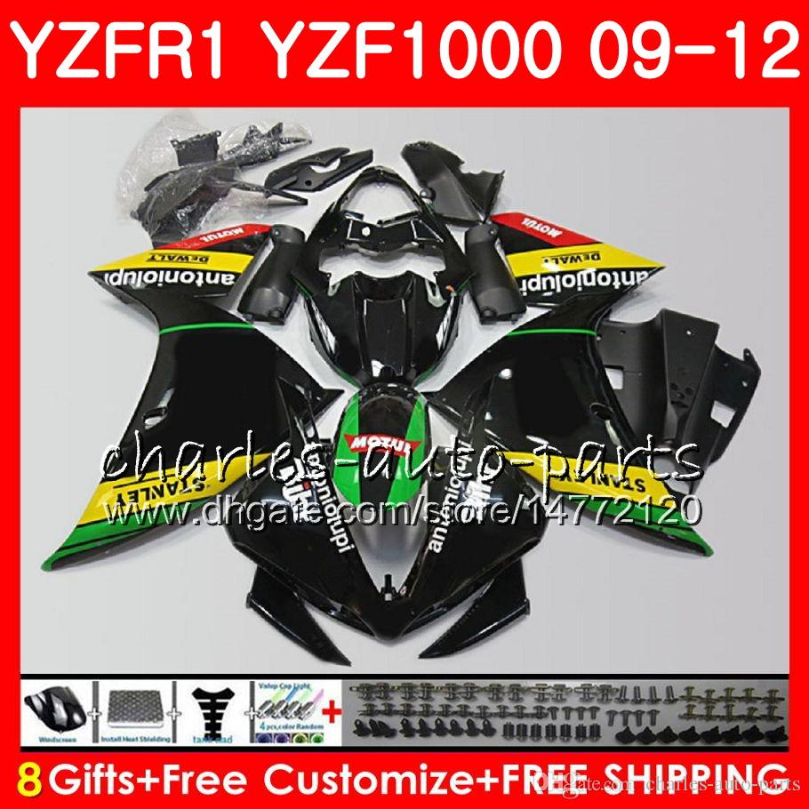 Body For YAMAHA YZF 1000 R 1 YZFR1 09 10 11 12 Bodywork 85NO59 YZF1000 YZF R1 2009 2010 2011 2012 YZF-1000 gloss black YZF-R1 09 12 Fairing