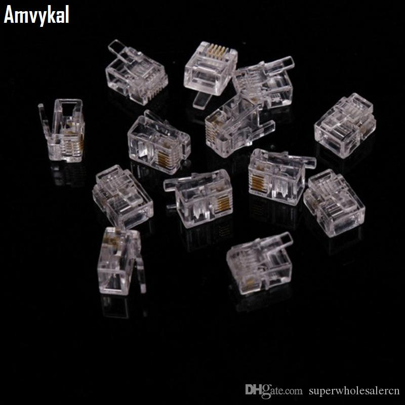 Amvykal High Quality RJ-11 6P4C Modular Plug Telephone Phone Connector RJ11 6 Pin 4 Contacts Crystal Head Adapter