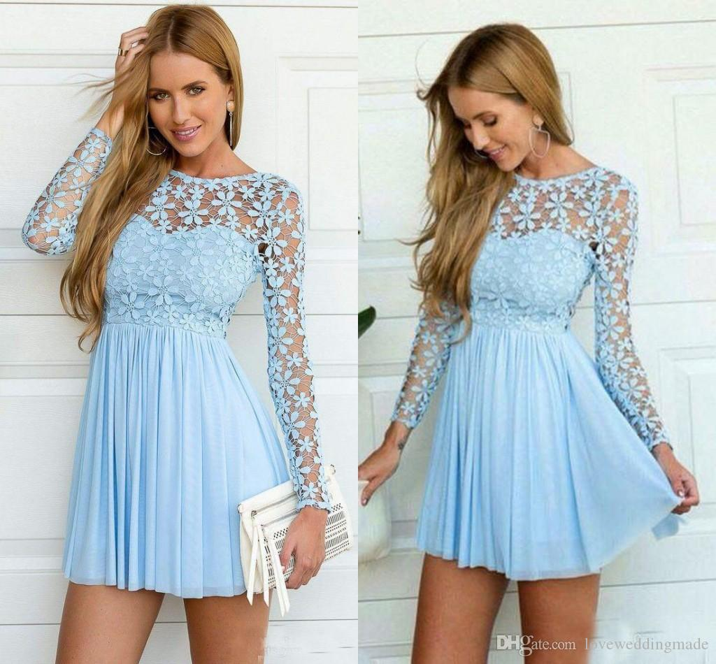 2019 year style- Light casual blue short dress