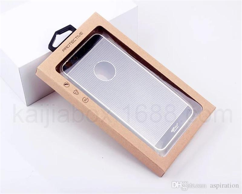 Kraft Paper Box Retail Package Cell Phone Case Package with + PVC Blister Tray + Hanger + Sticker for iPhone Blister Package Packaging Box