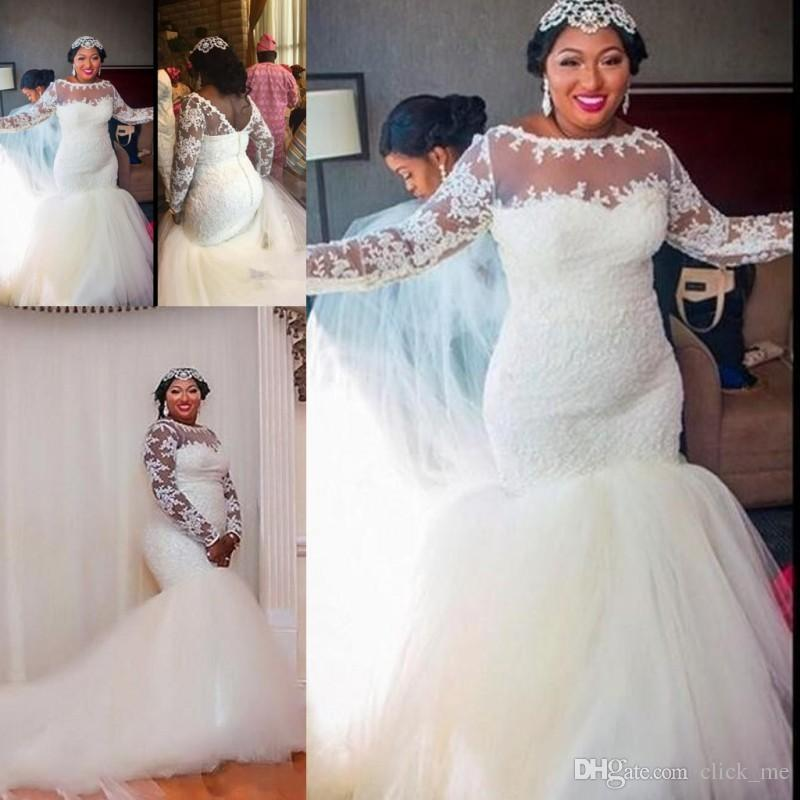 African Plus Size Wedding Dresses Sheer Neckline Lace Appliques Mermaid  Wedding Dress Long Train Zipper Long Sleeves Bridal Gowns