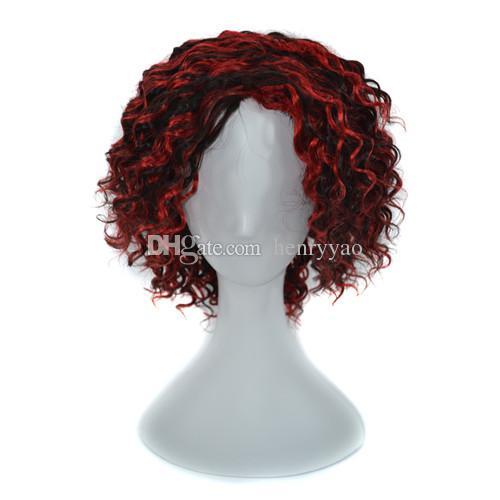 Parrucca 100% capello umano Parrucca senza cappuccio Parrucca capelli al vino rosso Ombre nero ricci profondi 240g 14 pollici