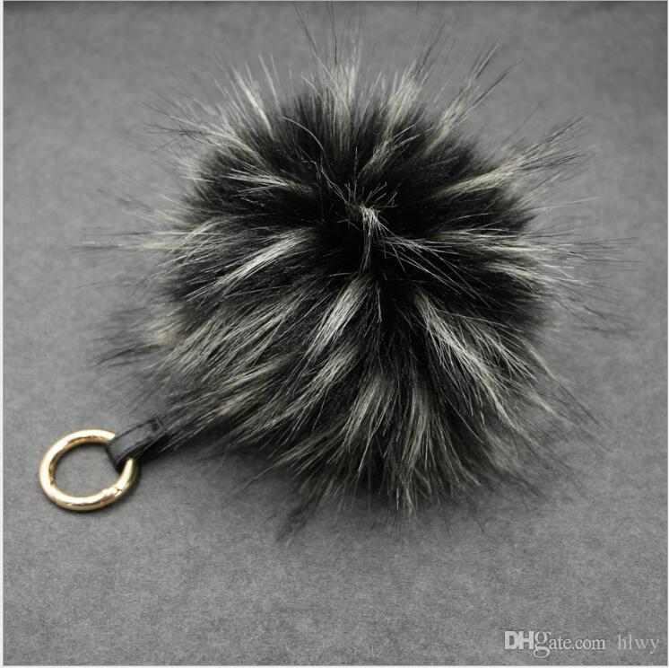 Lady Hot Style Fur Imitation Hair - Raccoon Hair Ball Bag Of Gold Metal Leather Rope Car KeyChain Hang Decoration