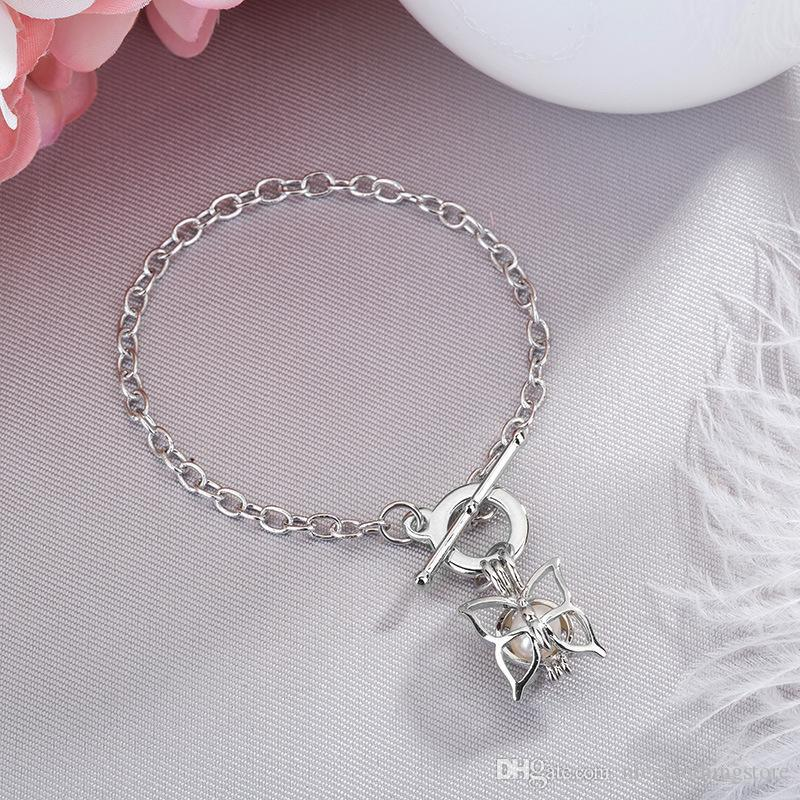 Women'S Pearl Cage Charm Bracelets With Oyster Pearl Beads Fashion Butterfly Elephant Dolphins Locket Bracelet Jewelry