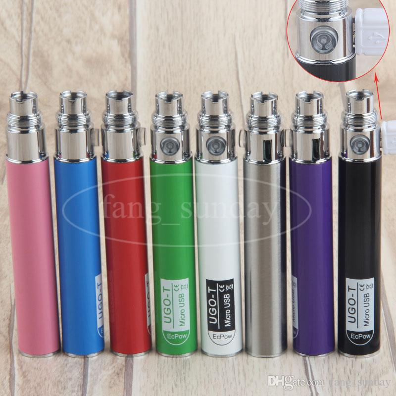 eGo Pass Bien E Cigarette UGO T 650mah Vape Batteries 510 Thread Batterie Micro USB Conception De Charge pour CE4 CE5 MT3 H2 Réservoir