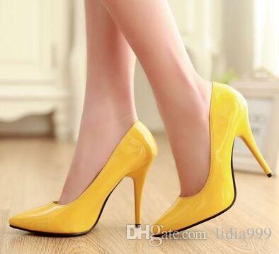 Wholesale New Arrival Hot Sale Specials Super Fashion Sweet Girl Sexy Plain Patent Pointed Colorful Noble Knight Heels Dress Shoes EU34-43