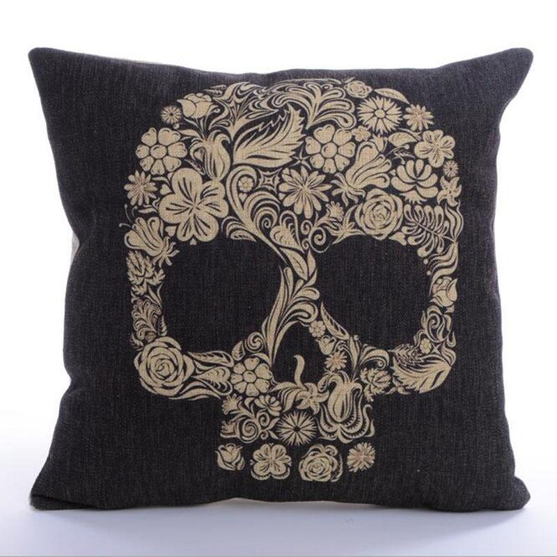45x45cm Skull Style Cotton Linen Cushion With Inner - Home Decor Sofa Chair Seat Decorative Throw Pillow Almofada cojines