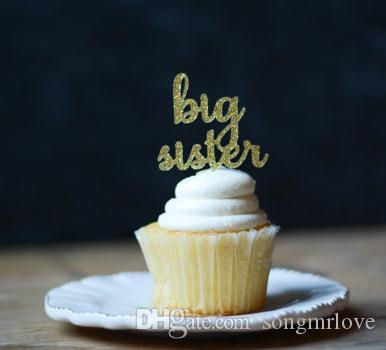 Big Sister Cupcake Topper Pregnancy Announcement Pregnancy Reveal