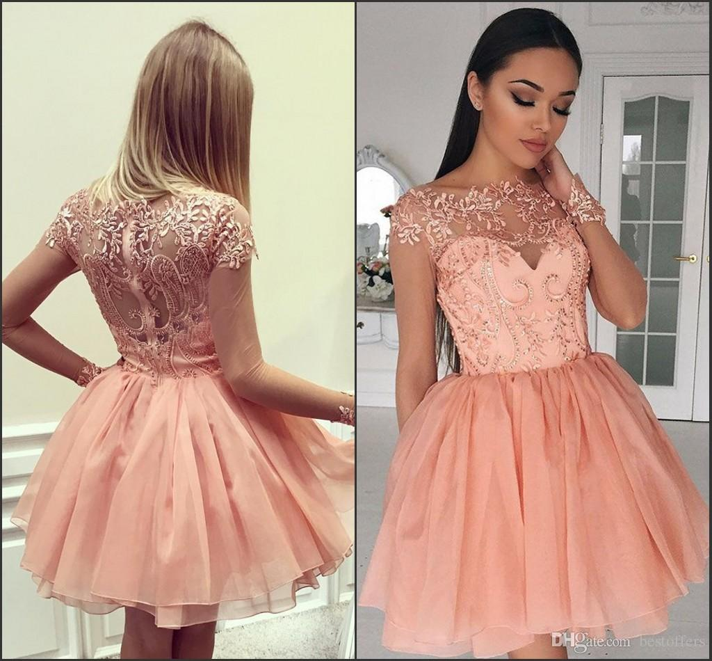 4bd53435ceda 2017 Sheer Long Sleeve Homecoming Dresses A Line Crew Cap Sleeves Short  Coral Chiffon Graduation Dresses With Appliques Cocktail Gowns Canada 2019  From ...