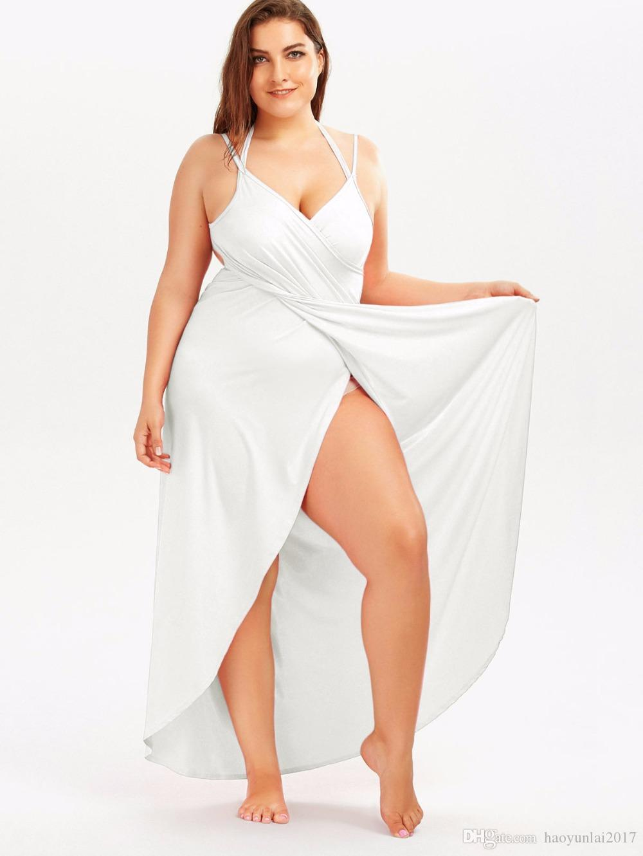 6e862933dc 2019 Plus Size Sexy Beach Long Split Summer Dress Backless V Neck Women  Cami Dress Casual Maxi Club Party Dresses Robe Vestido From Haoyunlai2017
