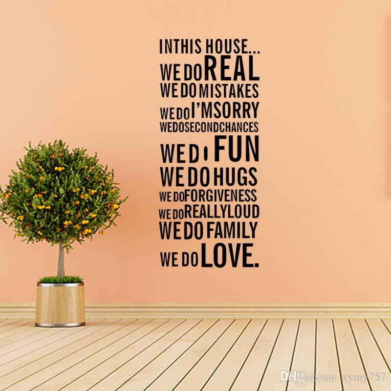 Venta caliente Wall Quote Art Decal Vinilo Pegatina Removable Decor Family House Rules Promise Dormitorio Salón Diy