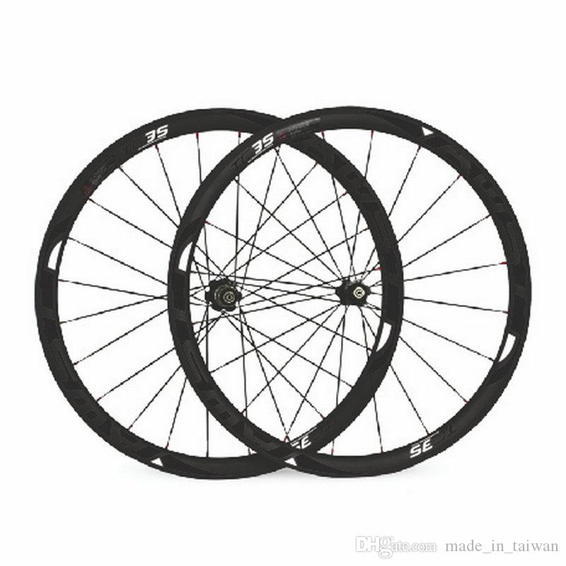 AWST TC 35 38mm full carbon road bike carbon wheels 3k V brake taiwan bicycle carbon wheelset 23mm width with powerway hubs