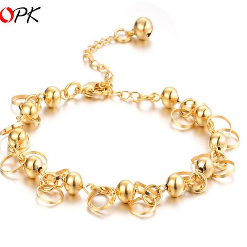 Fine Bridal Jewelry Brides 18K Gold Plated Allergy Free Never Fade Chain Bracelet Bangles Women Discount New Arrival Christmas Gift