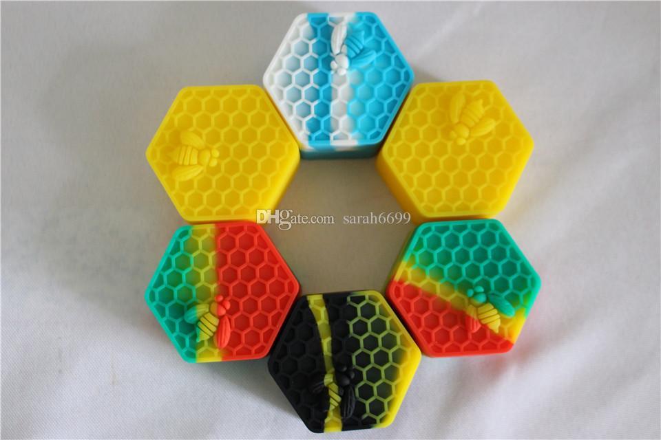 Containers de cera de honeybee nonstick 26ml Hexágono Hexágono Honey Bee Recipiente de Silicone Grau de Alimentos Frasco Ferramenta De Armazenamento De Armazenamento Petroleiro Para Vaporizador