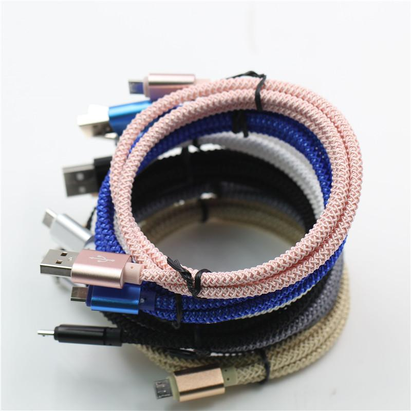 2017 New Braided Micro USB Cable Unbroken Metal Nylon Braided Woven Data Cables Charger Charging Lead Wire Cords 1M/3ft