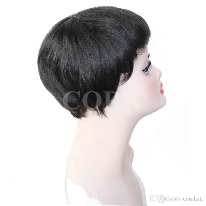 Natural straight brazilian virgin hair lace front wigs with bangs short Wigs New Style Indian Remy Hair 4'' Black Color Hair