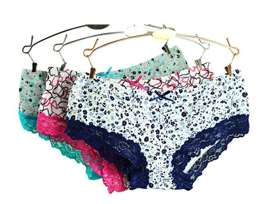 New Fine Wholesale-women's panties sexy lace underwear women cotton seamless panties plus size womens briefs