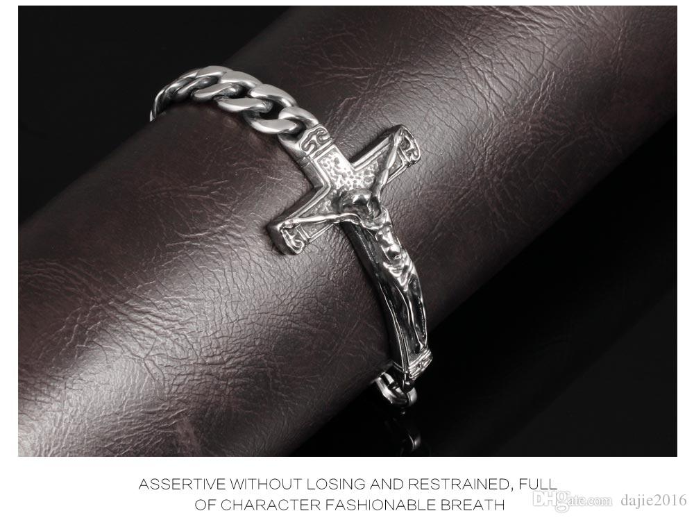 FASHION Jesus Cross Design Stainless Steel Men Link Chain Bracelets Male Vintage Punk Jewelry Accessories Man Gift MGS804