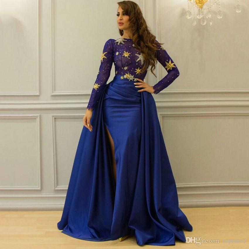 Yeni Arapça Abiye Kraliyet Mavi Uzun Kollu Sequins 2017 Yüksek Yarık Kadınlar Örgün Elbise Çıkarılabilir Etek