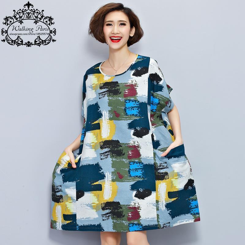 Wholesale Plus Size Women Linen T Shirt Summer Dress Chinese Style