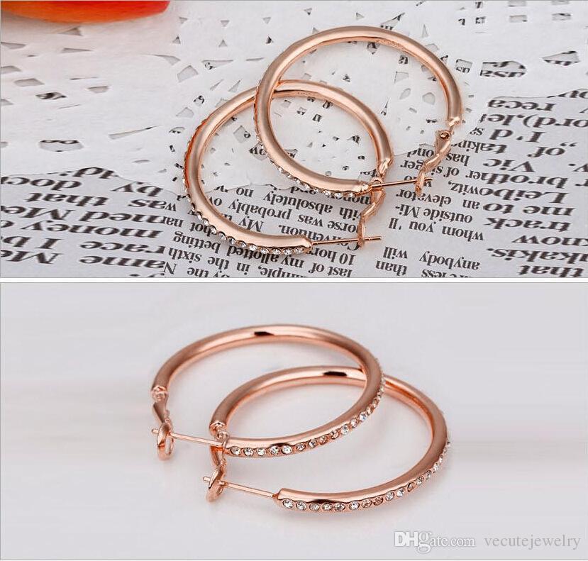 18K Rose Gold versilbert weiße Kristall Hoop Ohrringe für Frauen mit Swarovski Elements baumeln Kreis Ohrringe Fashion Jewel
