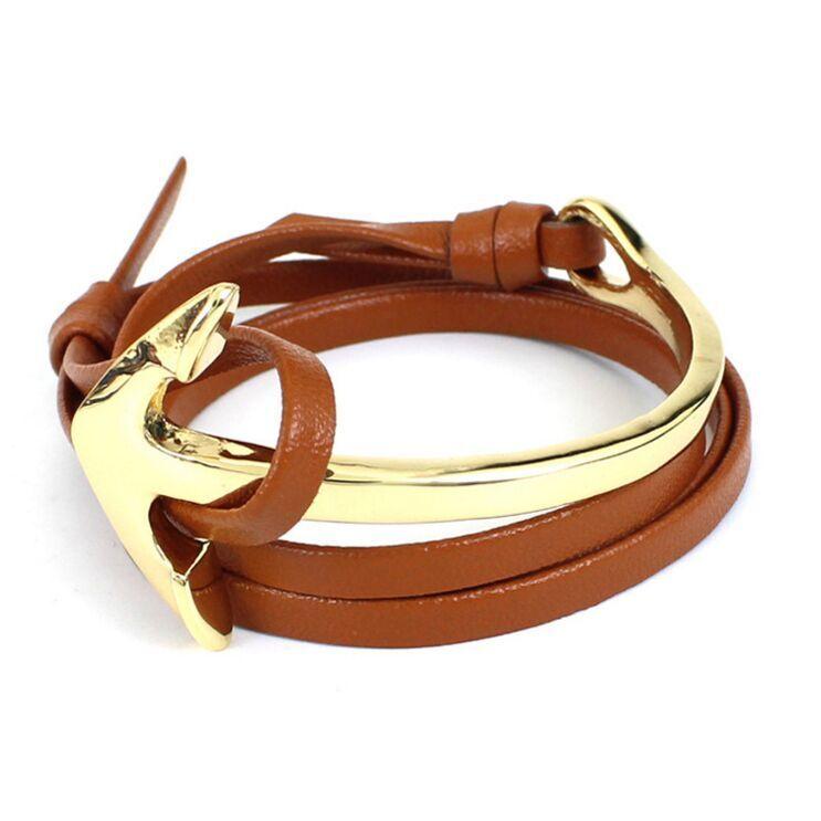 Travel Jewelry Multilayer Gold Alloy Travel Anchor Bracelet Men PU Leather Bracelet for Men and Women friendship Bracelets Wholesale