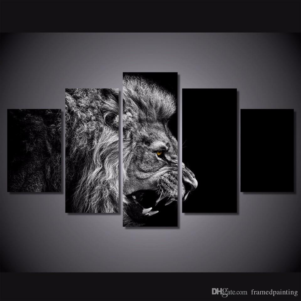 Framed HD Printed Black White Lion Picture Wall Art Canvas Room Decor Poster Canvas Modern Oil Painting