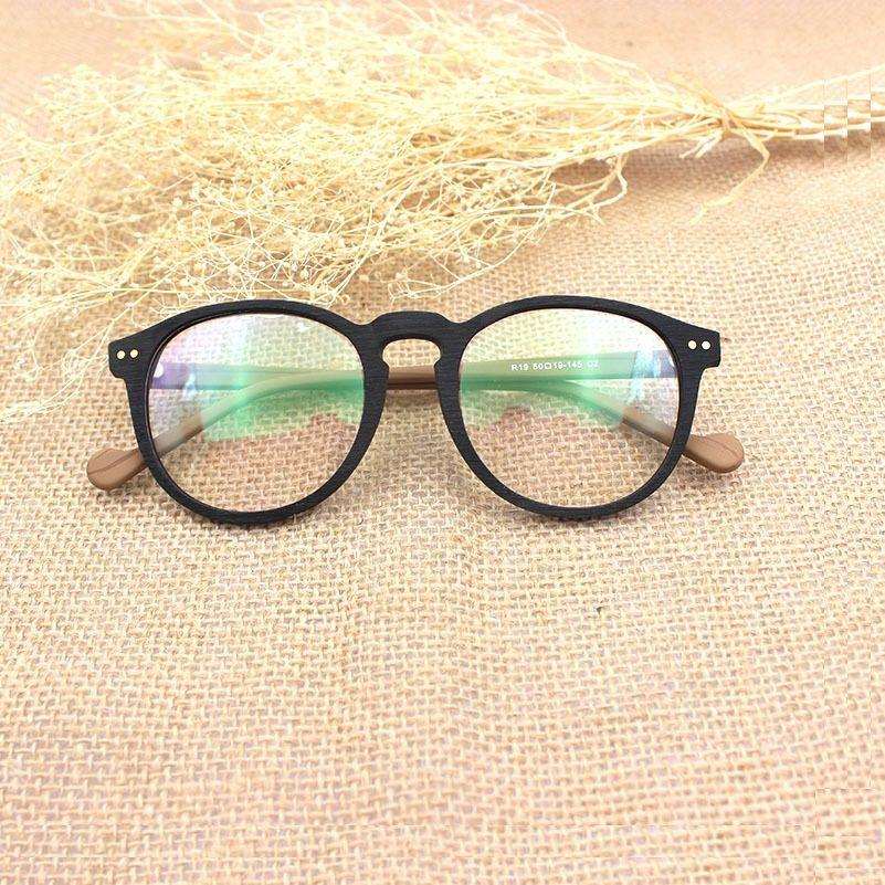 2018 Wholesale High End Wood Glasses Frame Men Women Retro Round ...