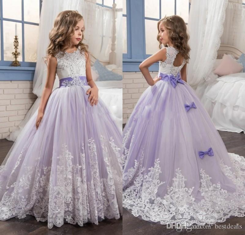 5b2124fd6 2019 Beautiful Purple And White Flower Girls Dresses Beaded Lace ...