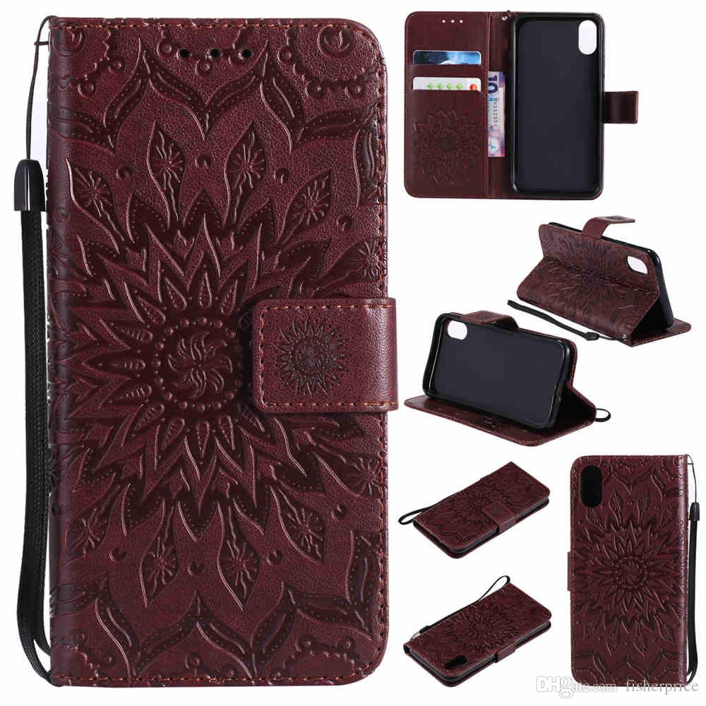 3D Embossed Sunflower Flip Leather Stand Wallet Card Clip Phone Case Cover For Apple iPhone X 8 7 6 6s Plus 5s