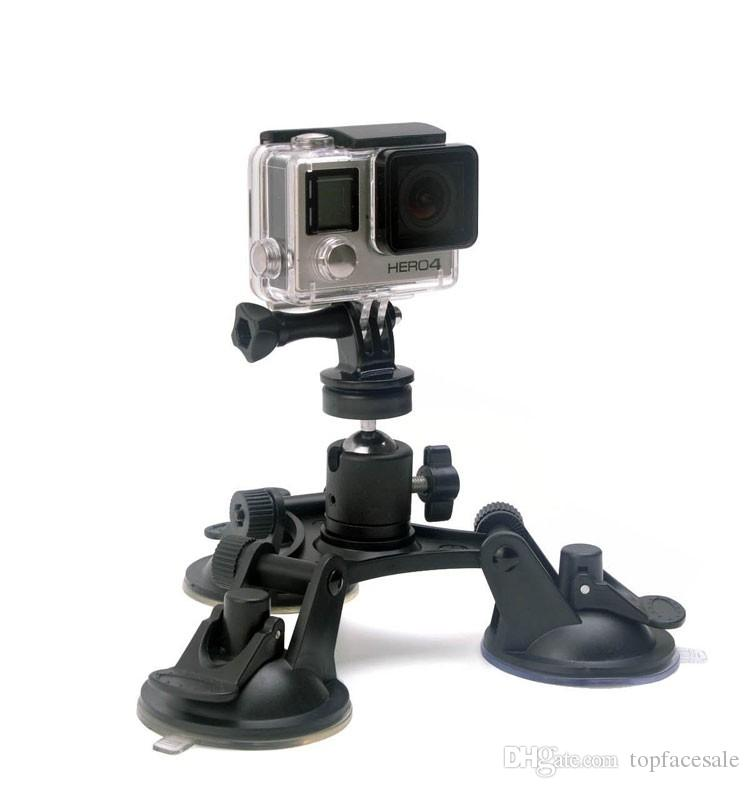 For Gopro Accessories Car Suction Cup Holder Triangle + Cloud Terrace 360 degree Yuntai for GoPro Hero6 black 5 4 3+ 3 SJCAM Xiaomi Yi 4K