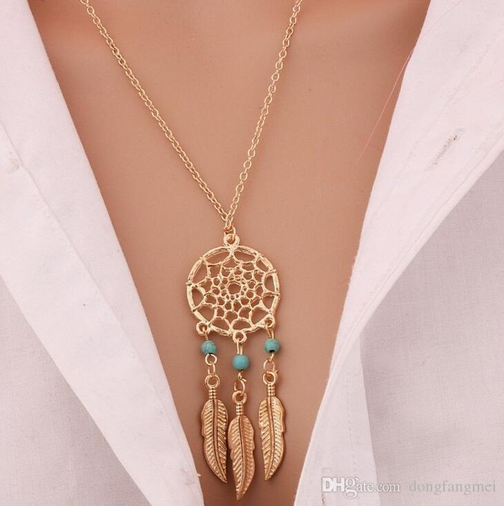 Dream net necklace temperament feather pendant WFN430 with chain a